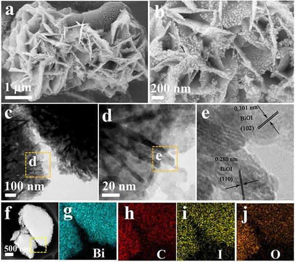活性炭的SEM图像HRTEM图像和EDX元素映射