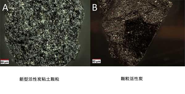 宏观镜拍摄下的活性炭材料